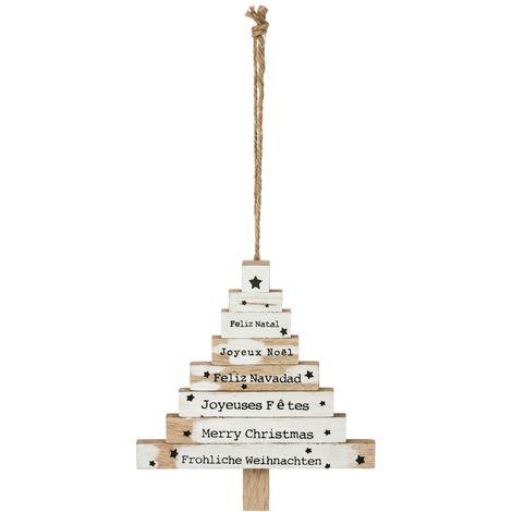 Décoration en bois pour sapin de Noël Pancarte - Blanc - Blanc