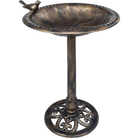 Décoration jardin baignoire mangeoire pour oiseaux sur pied bronze plastique - noir