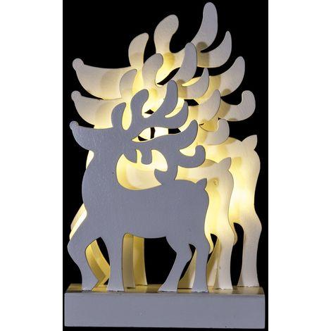 Décoration lumineuse de Noël - 15 x 6 x 24 cm - Rennes - Blanc
