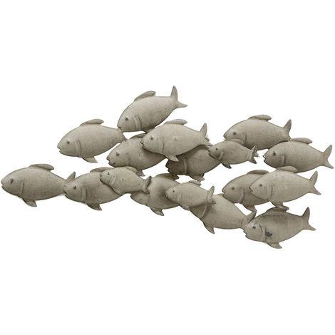 Décoration murale, banc de poisson en métal, gris
