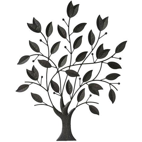 Mur extérieur image terrasses sculpture feuillage arbre feuilles branches rideau de jardin noir  Harms 504856