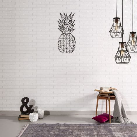 Décoration murale en métal - L. 22 x H. 55 cm - Ananas - Noir