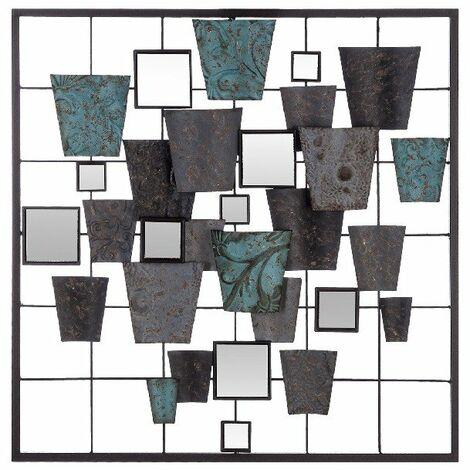 Decoration Murale Lines - Art Mural - pour Chambre, Salon, Entree - Multicolore en Metal, Verre, 50 x 3 x 50 cm