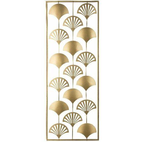 Decoration Murale Lines - Art Mural - pour Chambre, Salon - Or en Metal, 30 x 1 x 80 cm