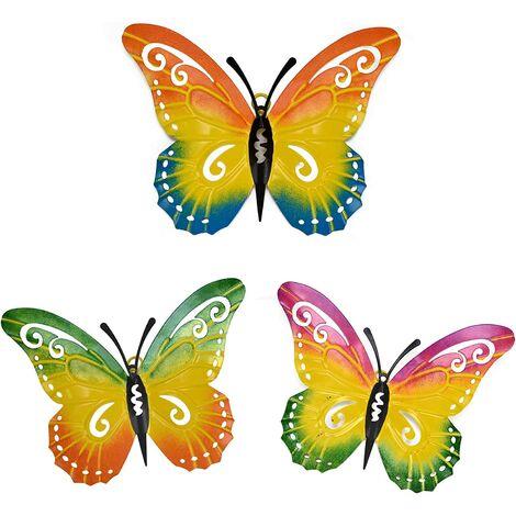 Décoration murale papillon en métal, lot de 3 décorations papillon murales en métal suspendues pour patio, clôture, jardin, cour, décoration murale extérieure Cadeau fait main pour les enfants