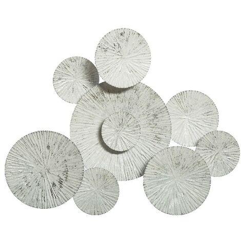 Decoration Murale Shapes - Art Mural - pour Chambre, Salon - Blanc en Metal, 75 x 7 x 61 cm
