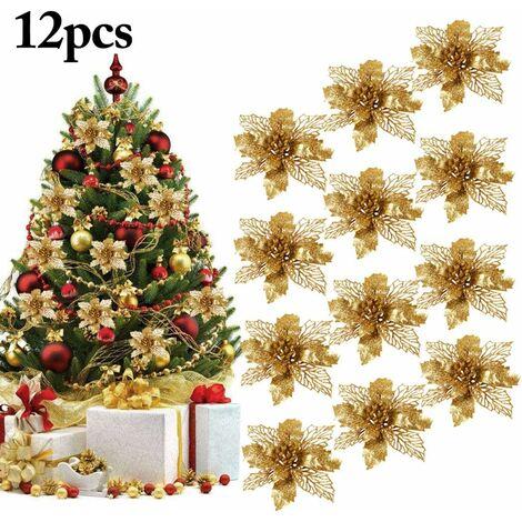 Decoration Noel Sapin, 12Pcs Ornement Sapin Noël Lot déco Noël Glitter Artificielles Fleurs de Noel pour la fête de Mariage Décorations de Noël