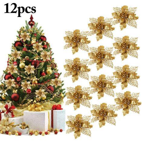 """main image of """"Decoration Noel Sapin, 12Pcs Ornement Sapin Noël Lot déco Noël Glitter Artificielles Fleurs de Noel pour la fête de Mariage Décorations de Noël"""""""