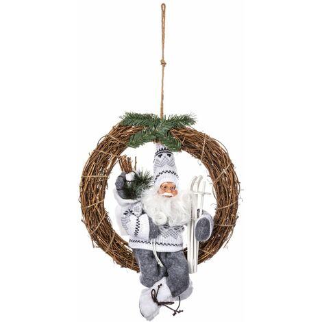 Décoration Père-Noël sur Couronne - Fééric Christmas - Marron