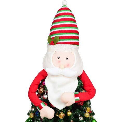 Décoration pour Cime d'arbre de Noël, Cimier de Sapin de Noël avec Père Noël Decoration, Topper de Noel Arbre pour Noël, fêtes de Noël, Danses de la Famille