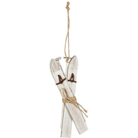 Décoration pour sapin de Noël Lodge - Skis - Blanc