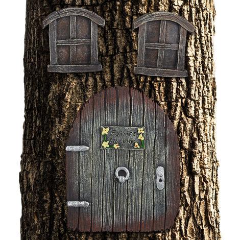 Décoration pour tronc d'arbre, maison de lutins, elfes, fées, déco de jardin féerique, porte, fenêtres, marron