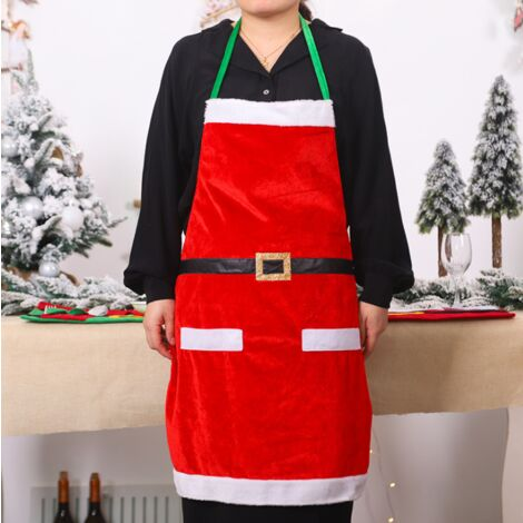 Décorations de Noël Fournitures quotidiennes de vêtements de Noël Tabliers de cuisine de Noël Fournitures de fête de famille rouge