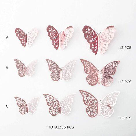 Décorations de Papillons Rose Or, Stickers Muraux 3D, Paillette Métallique d'Art, DIY/Artificiel/Amovibles Papier Décoratif pour Maison, Salon, Chambre d'enfants / filles, Décor de fête (36 PCS)