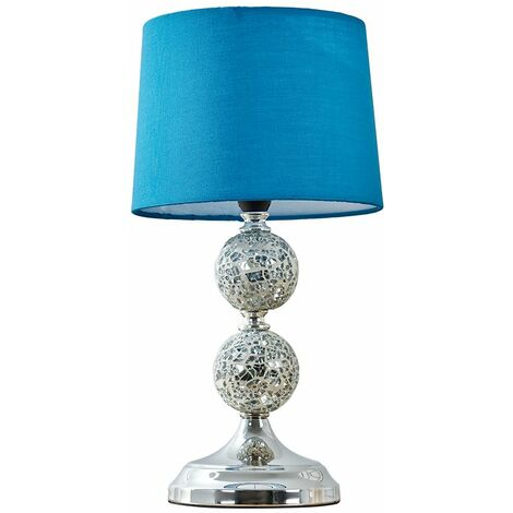 Decorative Chrome & Mosaic Crackle Glass Table Lamp + Blue Shade + 4W LED Bulb Warm White - Silver