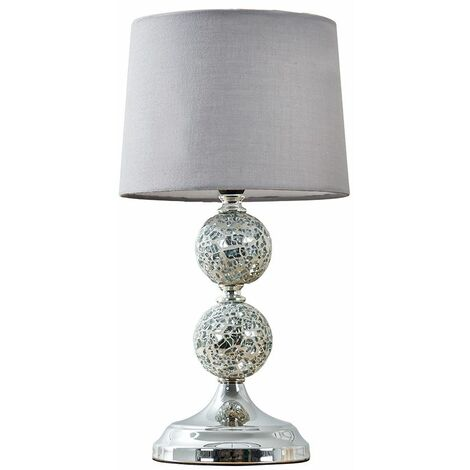 Decorative Chrome & Mosaic Crackle Glass Table Lamp + Grey Shade + 4W LED Candle Bulb Warm White - Silver