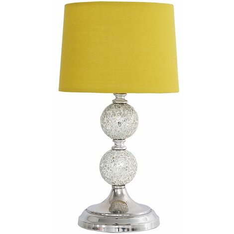 Decorative Chrome & Mosaic Crackle Glass Table Lamp + Mustard Shade + 4W LED Bulb Warm White - Silver