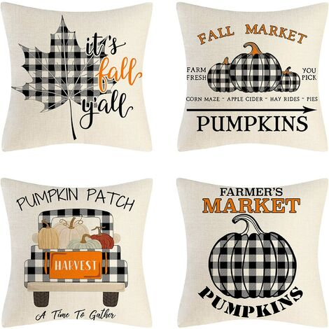 """main image of """"Decorative Cushion Pillow 45x45cm Square Pillowcases for Sofa Living Room Chair Modern Holiday Rustic Pumpkin Leaf Invisible Zipper, Set of 4"""""""