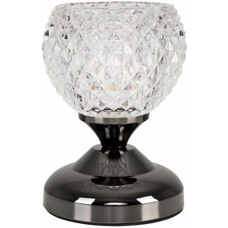 Decorative Glass Bedside Touch Table Lamp + 3W LED Dimmable G9 Bulb