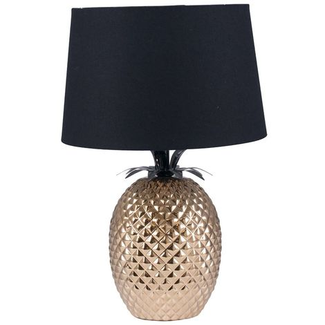 Decorative Gold Pineapple Table Lamp & Tapered Black Shade