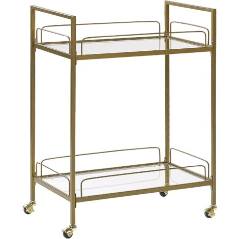 Decorative Kitchen Trolley Tempered Glass Top Metal Legs Wheels Gold Veneta