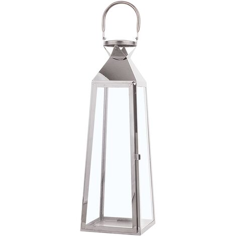 Decorative Lantern 42 cm Silver CRETE