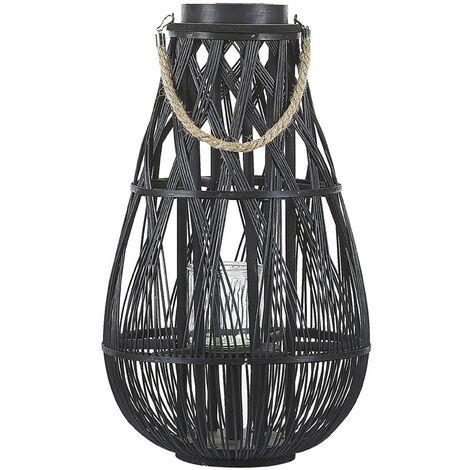 Decorative Lantern Willow Wood 56 cm Black TONGA