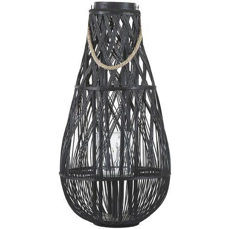 Decorative Lantern Willow Wood 77 cm Black TONGA