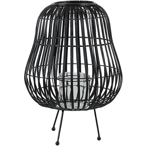 Decorative Lantern Willow Wood Black BERKNER