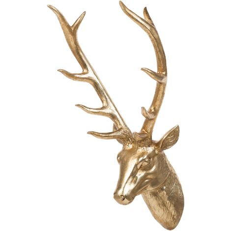 Decorative Sculpture Gold DEER HEAD