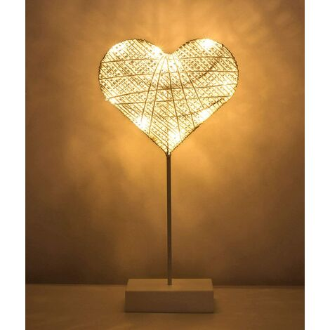 Decorative Table Lamp, Battery Powered Heart Shaped LED Bedside Lamp, Warm White Light Night Light, Decoration for Home Bedroom Work Sleep - White