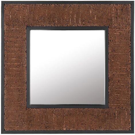 Decorative Wall Mirror Square 60 x 60 cm Teak Rustic Raw Dark Wood Boise
