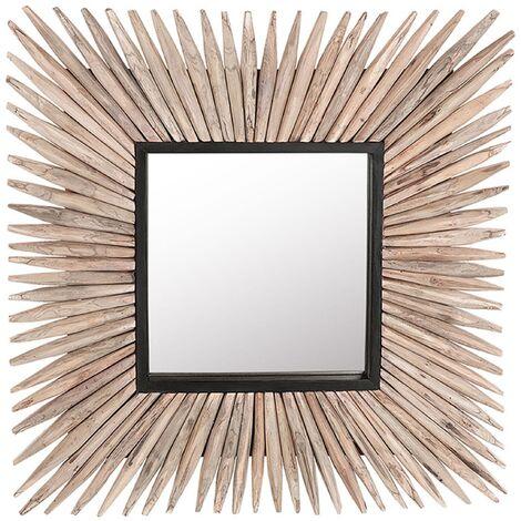 Decorative Wall Mirror Square 64 cm x 64 cm Wooden Frame Raw Light Wood Sasabe