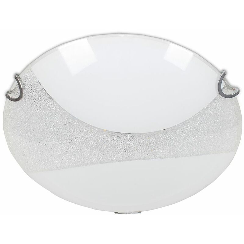 Decorative White Frosted Gl K5 Crystal Dome Flushed Integrated Led Circular Ceiling Light 4000k Neutral