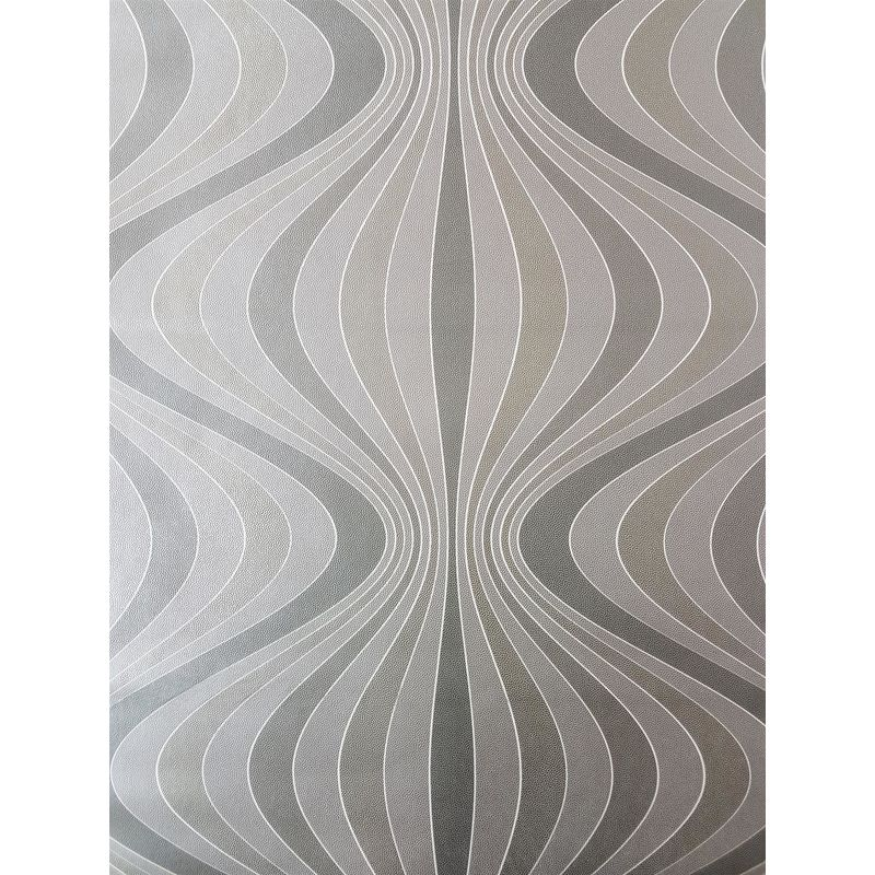 Image of Retro Geometric Wave Wallpaper Stripes Gold Silver Grey Paste Wall Decorline
