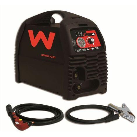 Découpeur PLASMA 40 + Compresseur intégré AWELCO Torche Plasma + Cable pince de masse Monophasé