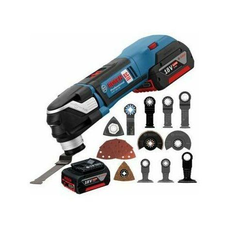Decoupeur-ponceur Bosch Professional Starlock GOP 18V-28 + 2 batteries LI-ION, 19 accessoires, coffret L-Boxx