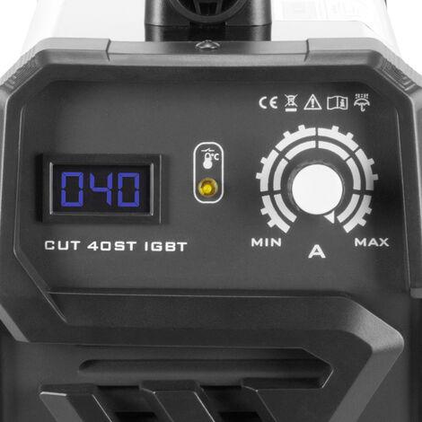 Découpeuse plasma STAHLWERK CUT 40 ST IGBT équipement complet avec 40 ampères, capacité de coupe jusqu'à 10 mm, convient pour les tôles peintes et la rouille flash, 7 ans de garantie