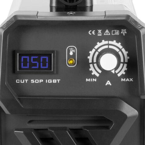 Découpeuse plasma STAHLWERK CUT 50 Pilot IGBT avec allumage pilote et 50 ampères, capacité de coupe jusqu'à 14 mm, convient aux tôles peintes et à la rouille, 7 ans de garantie
