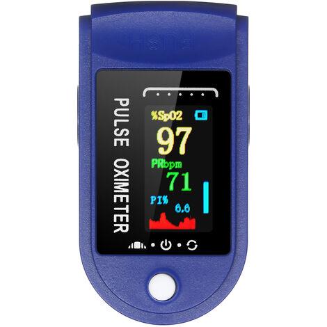Dedo oximetro de pulso arterial de oxigeno de saturacion y de frecuencia cardiaca rapida deteccion 10s Medida y apagado automatico Funcion de alarma portatil de SpO2 y PR monitor de recorrido del hogar, azul y blanco