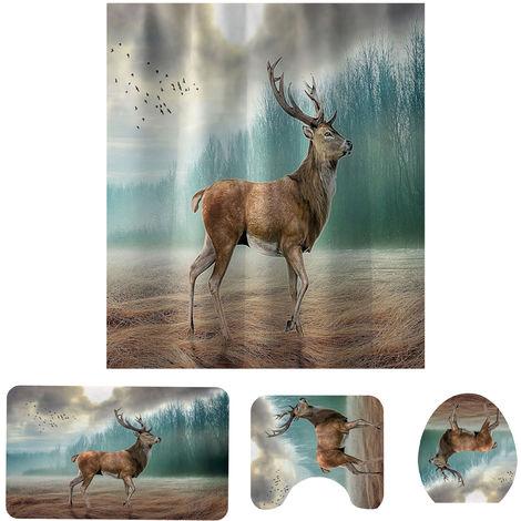 Deer Animal Print Bathroom Shower Curtain Bath Decor Polyester Washable Large Hasaki