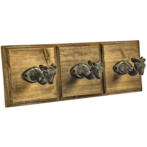 DEER - Wood and Metal Wall Mounted Animal Head Coat / Towel Hooks - Set of 3 - Brown / Black