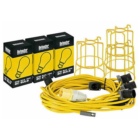 Defender 100M GLS Festoon Hanging Light Chain With 33 Holders ES Fittings At 3M Spacings 110V