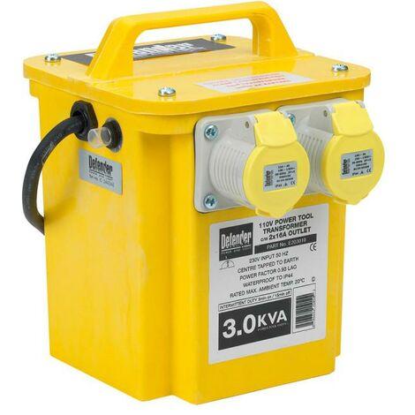 DEFENDER 3kVA Portable 110 Volt Transformer 2x16 Amp Outlets