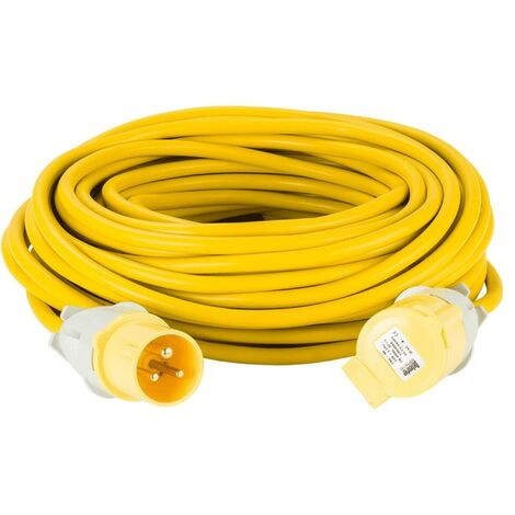 Defender E85233 Extension Leads 25m X 16A Yellow 2.5mm Cable 110V