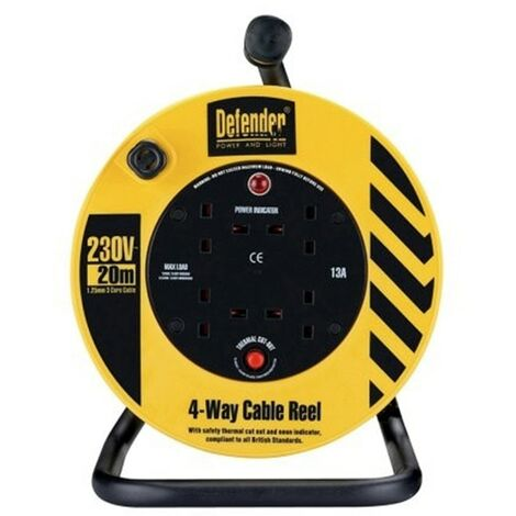 Defender E86465 230v Cable Reel 20m 1.25mm 4 Way 13a