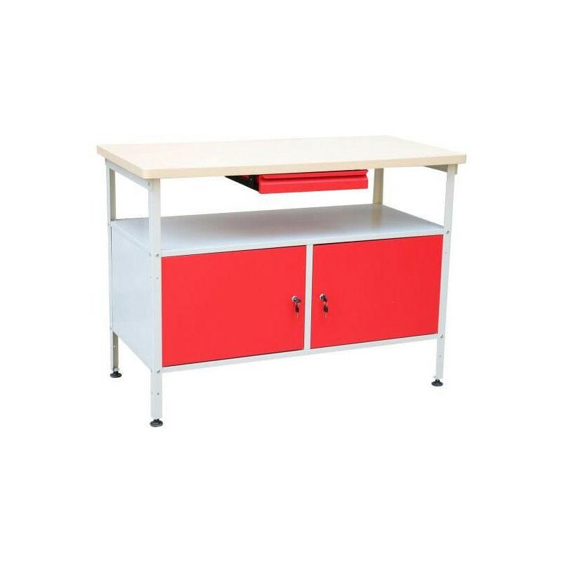 Etabli a double porte - Rouge/Blanc - Defitec