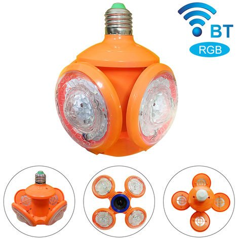 Deformable Futbol lampara OVNI, RGB con el bulbo inteligente BT altavoz E27 Lampara LED plegable, 220V, Naranja