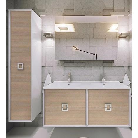 Defra Linea Badmöbel-Set / Komplettbad 5-teilig in Trüffelbuche, mit  Doppel-Waschtisch 120 cm, Komplett vormontiert