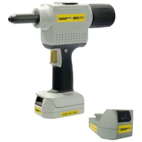 DEGOMETAL electro-portable riveting machine - 2 batteries 14,4V Li-ion 2,8Ah GO254L2